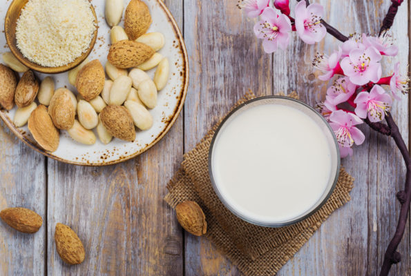 raw homemade almond milk