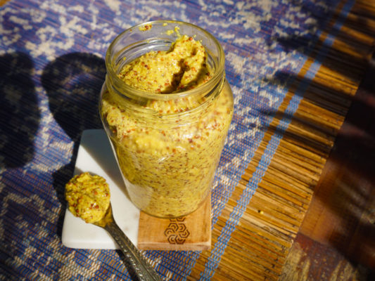 Sattvic recipes. Making healthy raw mustard that is suitable for a yogic lifestyle is a quick and easy task. This Raw Satttvic mustard recipe features only positive pranic ingredients. After all, it is possible to make delicious and spicy mustard without using vinegar, oil, sugar, garlic, and other unwanted ingredient. Positive pranic food