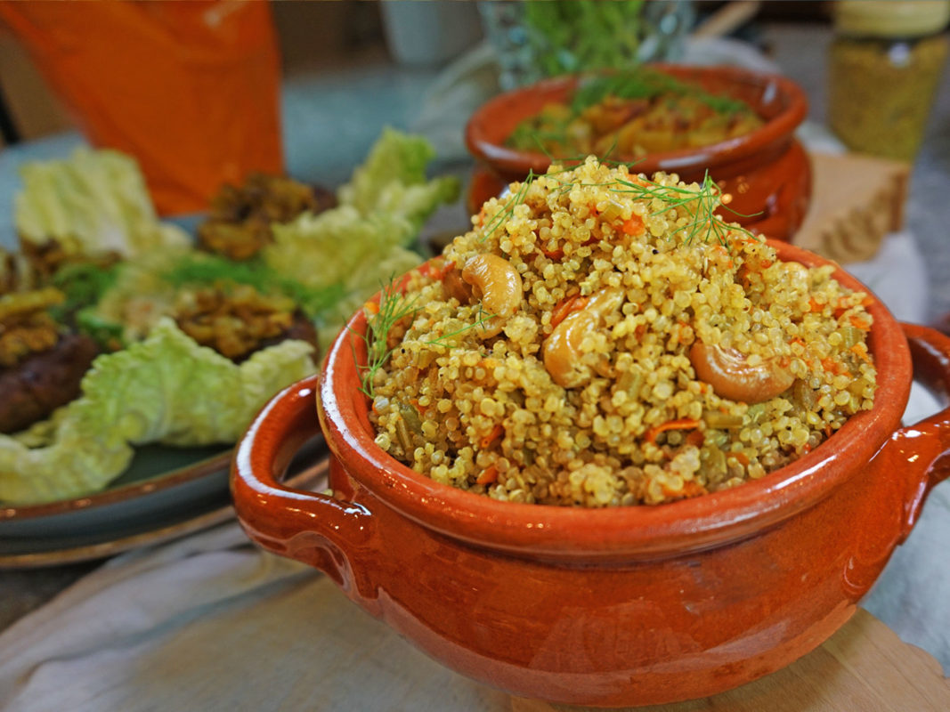Easy protein-packed one-pot vegan quinoa recipe. This sattvic quinoa dish is made only of positive pranic ingredients. Perfect for lunch or dinner this nourishing vegan quinoa is well-loved in my home