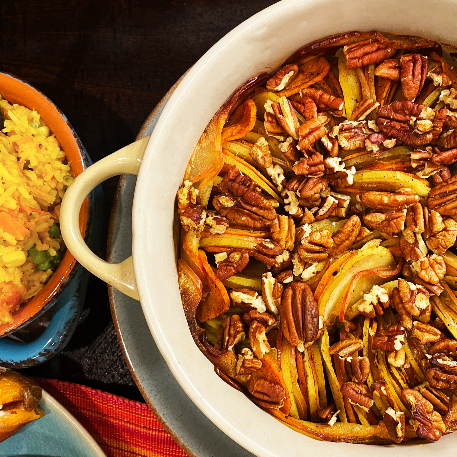 Baked sweet potatoes with apples and pecans
