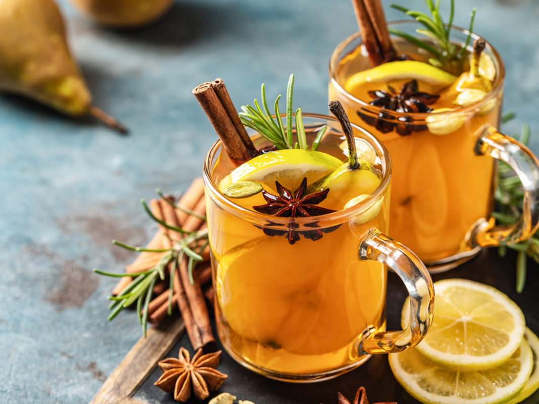Hot Mulled pear cider drink is a perfect hot cocktail for New Year, Christmas, winter, or cold days of autumn. Mulled pear cider or gloog with lemon, pear, cinnamon, anise, cardamom, rosemary, and lemon